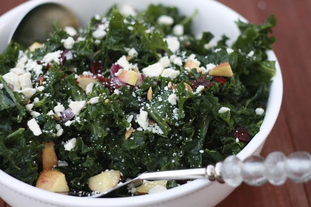 Kale Salad with Apples Craisins and Feta