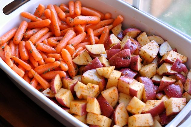 ... Duty Side Dish – Oven-Roasted Herb Potatoes & Ginger Glazed Carrots