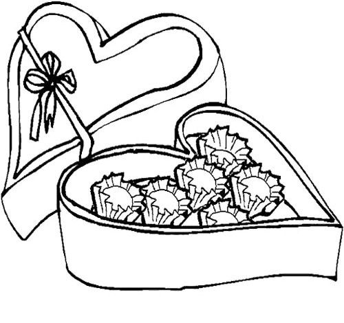 valentine chocolate coloring pages - photo#44