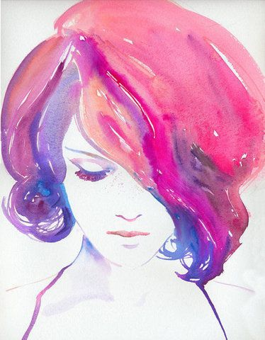 Watercolor girl pink hair painting a creative universe for Creative things to do with paint