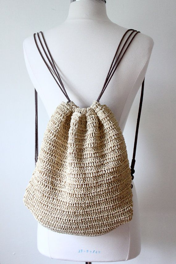 Crochet Pattern For Bucket Bag : 70s Backpack / Bucket Bag - crochet knit festival beach