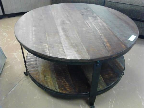 Solid Wood And Iron Round Coffee Table Spaces Pinterest