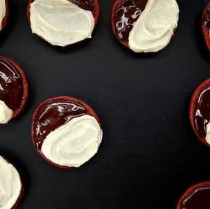 Red Velvet Black and White Cookies | Comfort Food | Pinterest