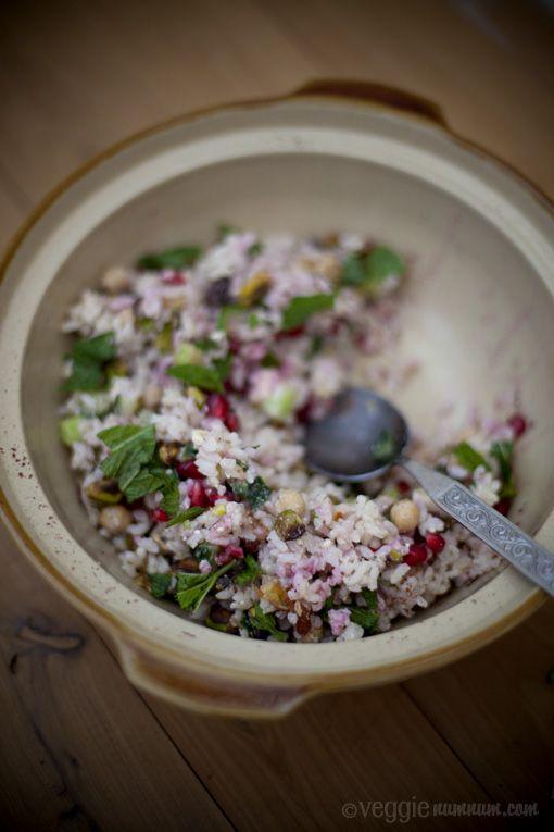 Festive Rice Salad w/ Pomegranate & Mint   Oishii   Pinterest