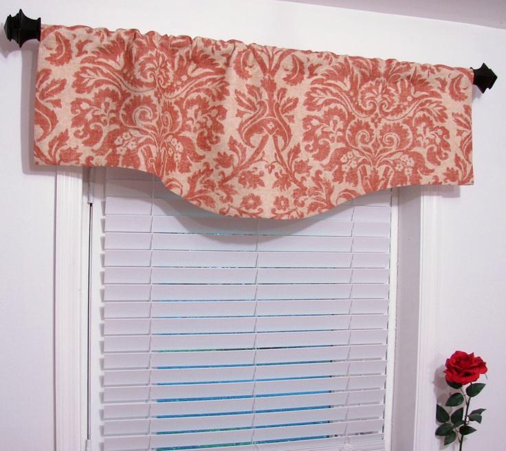 Salmon Damask Linen Window Curtain Designer Valance. $54.00, via Etsy.
