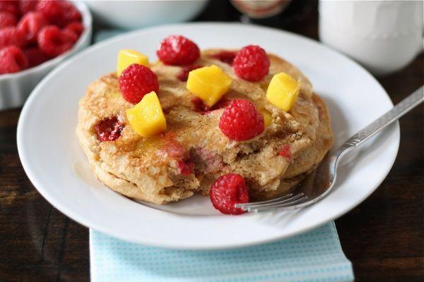 Whole Wheat Raspberry & Mango Pancakes   Recipe