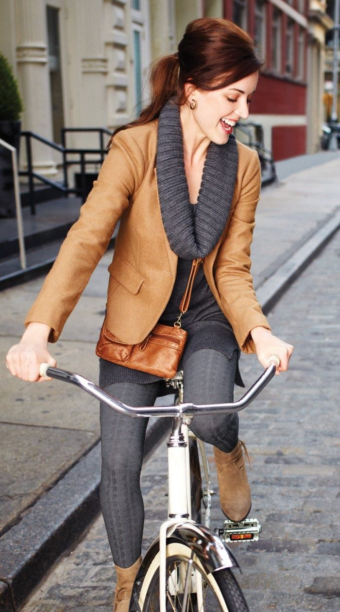 Color combination, brown / camel and grey.  Perfect fall outfit.  Pinned for Pink Pad, the women's health app! pinkp.ad