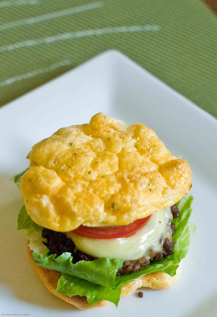 Low Carb Burger - buns are made from eggs, cream cheese, mustard and a ...