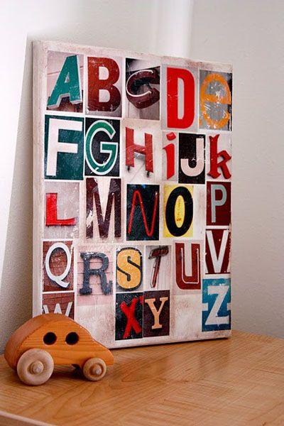 gel medium transfer - Alphabet Art