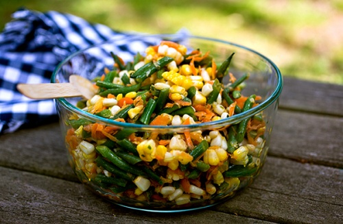 Haricot vert, corn and carrot salad | Vegetarians get Pins too! | Pin ...