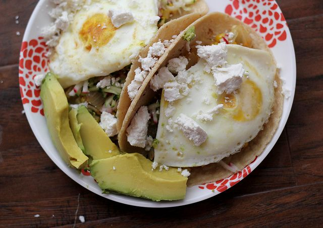 tacos with corn, zucchini-radish slaw, egg, and avocado {recipe redux}