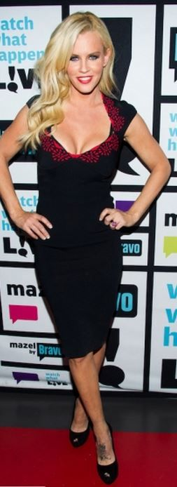 Who made jenny mccarthy s black pumps and red print dress dress and