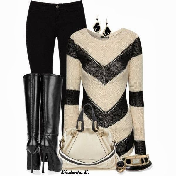 Black and cream stripes sweater,black jeans,long black boots and handbag