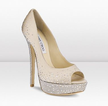 Jimmy Choo - SUGAR   These exquisite nude satin peep toe sandals with scattered hotfix Swarovski crystals make the perfect evening shoe.