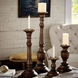Chunky wood candlesticks