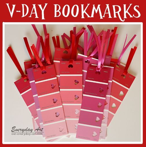 Everyday Art: Classroom Valentine's: Paint card bookmarks #valentine's #classroom #bookmarks #paint