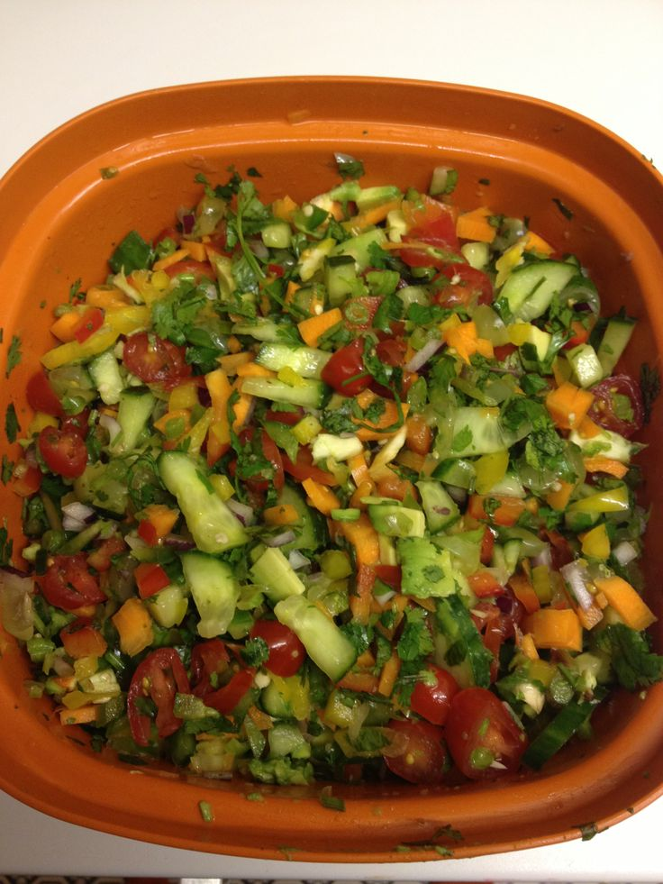 ... green/yellow bell peppers, carrots, avocado, cucumber and red onion