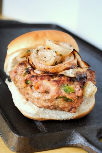 Herbed Turkey Burgers with Grilled Onions