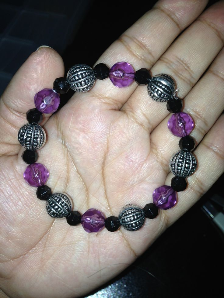 Purple Black And Silver Bead Bracelet Bead Work By Me