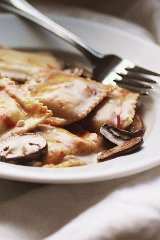 ... loves it. Pumpkin sage ravioli with mushroom goat cheese cream