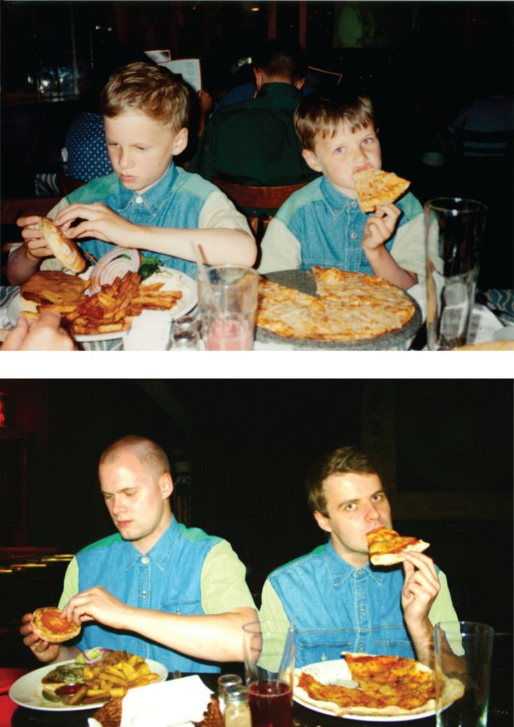 11. Two brothers eating burgers and pizzas.