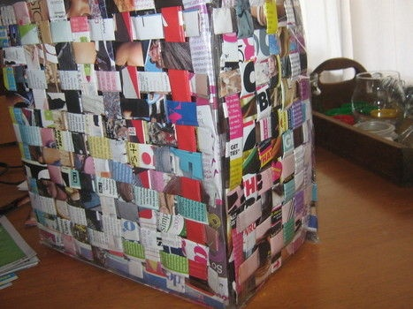 make a bag out of old magazines