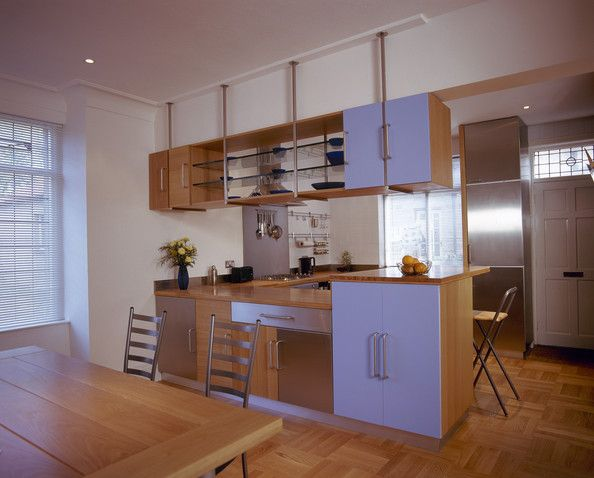 Brown Modern Kitchen An open plan kitchen and dining area with a