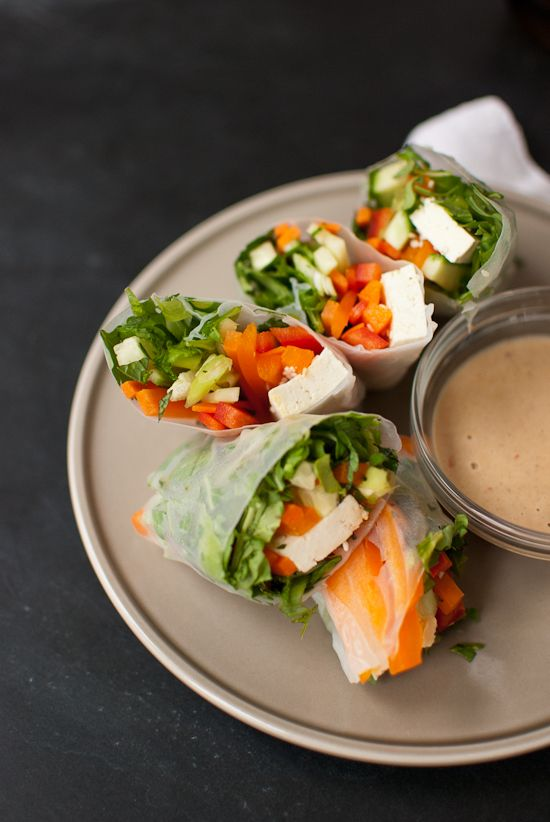 Vegetarian Summer Rolls with Spicy Peanut Dipping Sauce - Cookie and ...