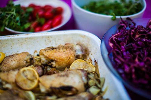 Roast chicken with onion, fennel & lemon | Food..I would | Pinterest