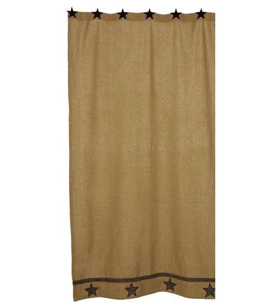 Burlap star shower curtain ihf 346scb bathrooms pinterest
