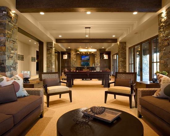 Open basement design dark and warm decorating pinterest - Basement living room ideas ...