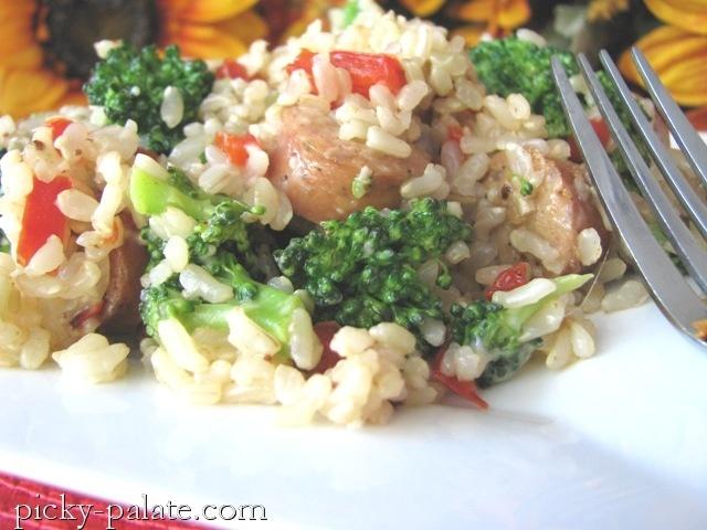 Chicken Sausage, Broccoli and Parmesan Brown Rice Dinner