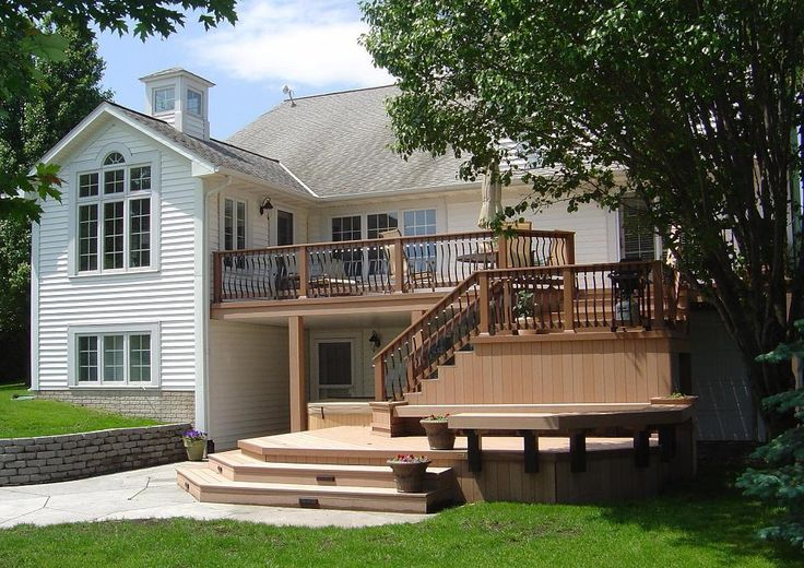 Timbertech twinfinish multi level deck and patio creston for Multi level patio designs