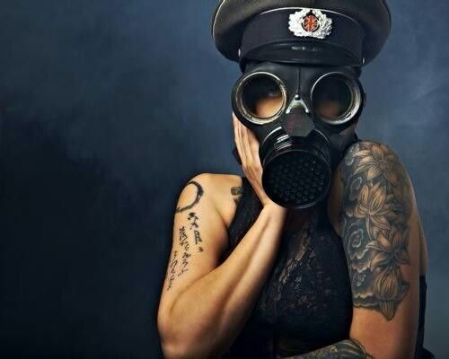 Girls with Gas Mask Tattoos