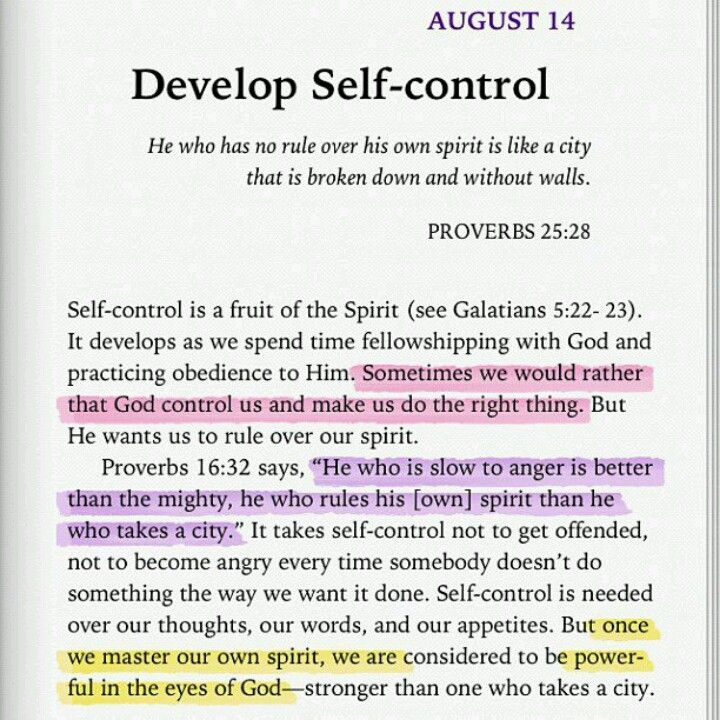 self control Identifying with others who control themselves could strengthen your own self- control is self-control something you can acquire, like a new language or a taste .