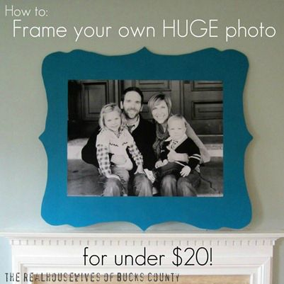 Frame your own HUGE photo for under 20 (print 3'x4' photo from Staples for five bucks)... now I just need a new home with space to hang one - oh, and a family too would be nice.