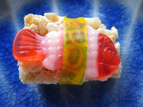"""Rice Krispies """"Sushi."""" Might be a good way to freak hubby out and g..."""