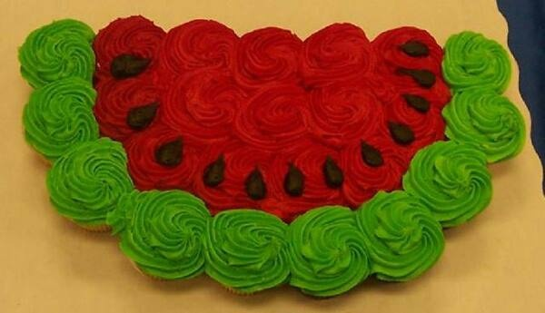 watermelon shaped cupcakes
