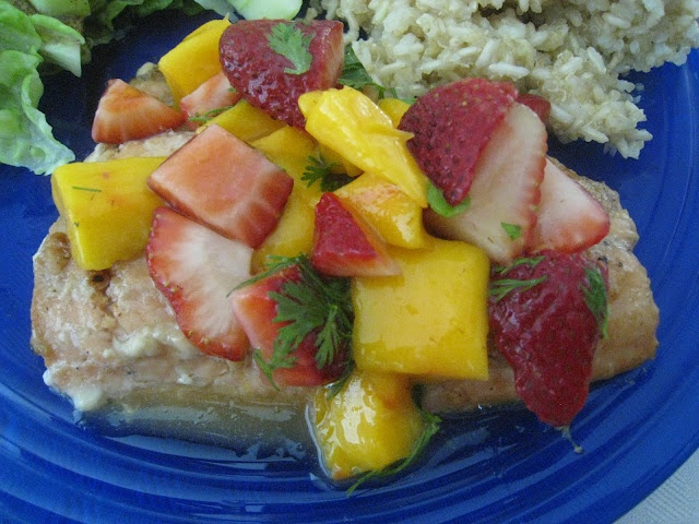 salmon topped with fruit salsa | Family Recipes | Pinterest