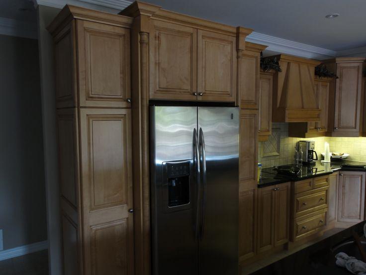 cabinets around fridge kitchen pinterest