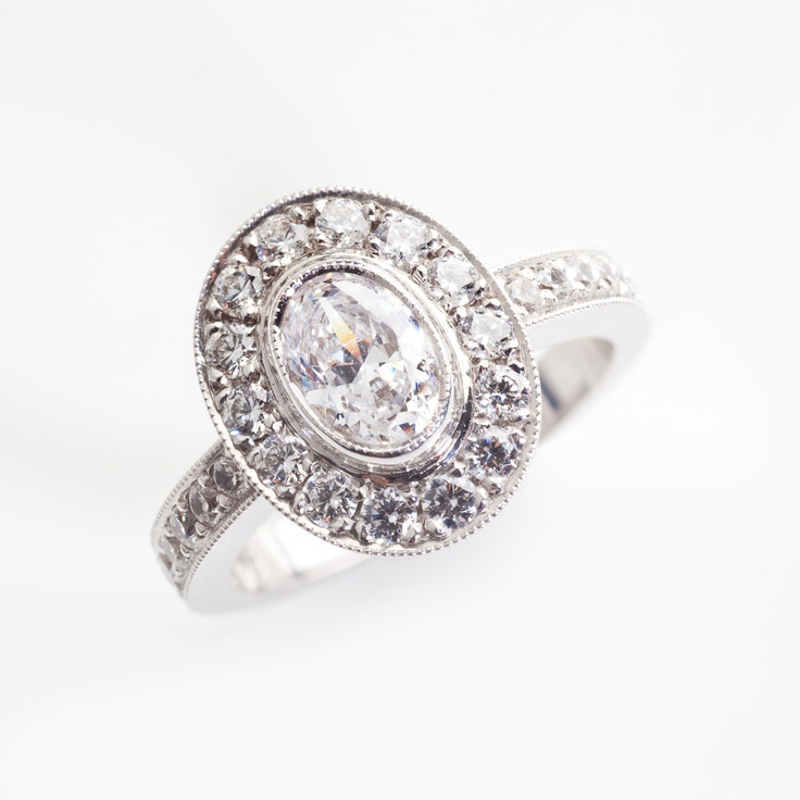 Vintage style oval engagement ring one day
