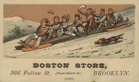 some sled illustrated in this card, for a defunct NY clothing store