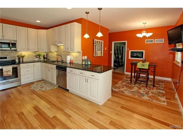 Pin by pamela berry on for the home pinterest - Kitchen with orange walls ...
