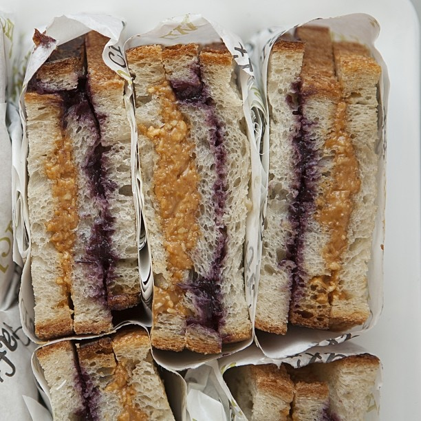 Chunky peanut butter & jelly on triple decked pullman white from ...