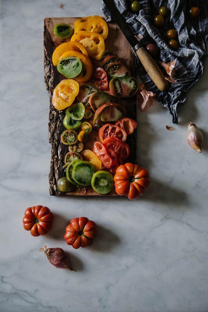 Heirloom tomato galette + lemon balm almond pesto & chevre | Recipe