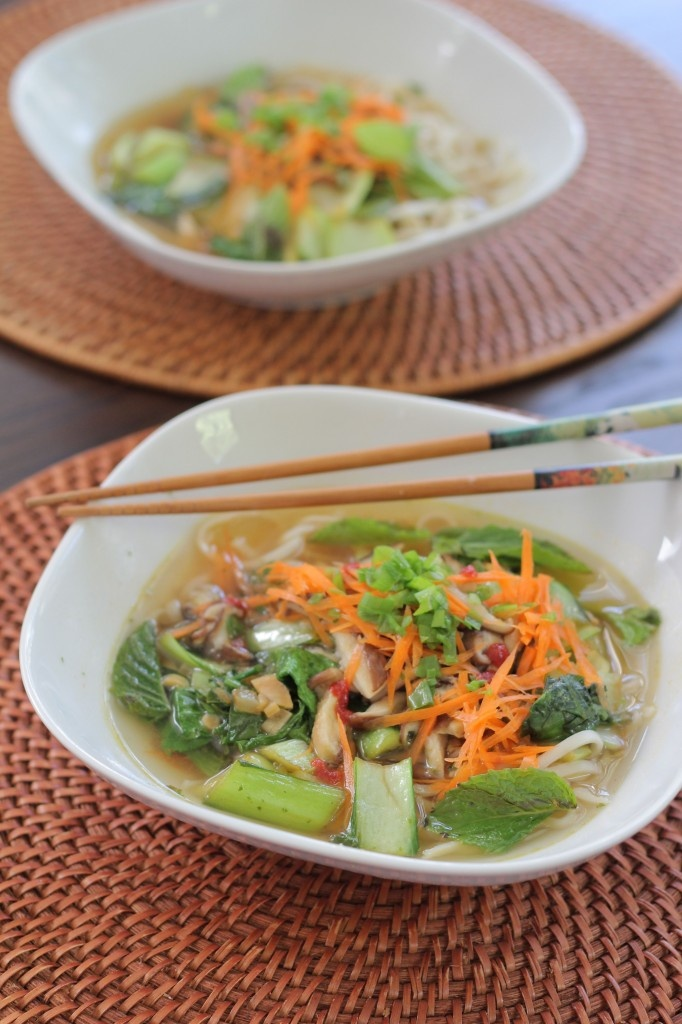 Vegetable Udon Noodle Soup - spicy with sriracha