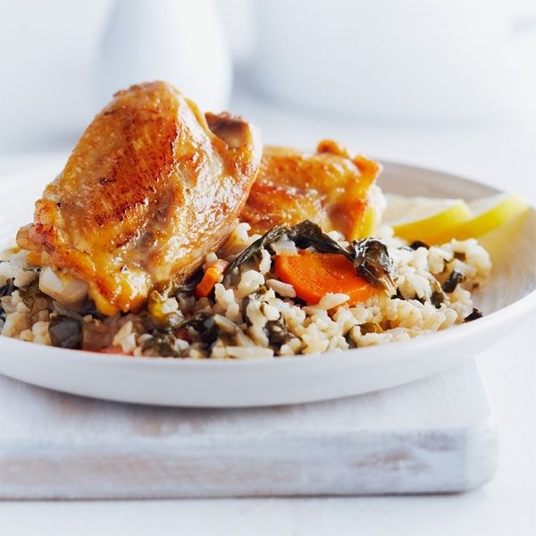 stove top chicken amp chard with brown rice # chickendotca