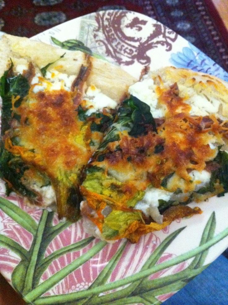 Grilled Squash Blossom Pizza Recipe — Dishmaps