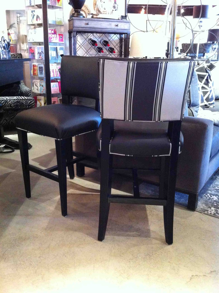 Drake counter stool. Also available as a bar stool. Custom fabrics available.