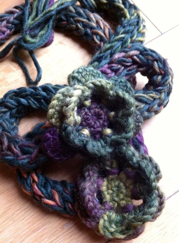 Finger Knitting Flowers : Collana al finger knitting wool flower hobby ies i did